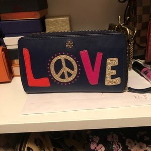 Tory Burch continental leather wallet zip love